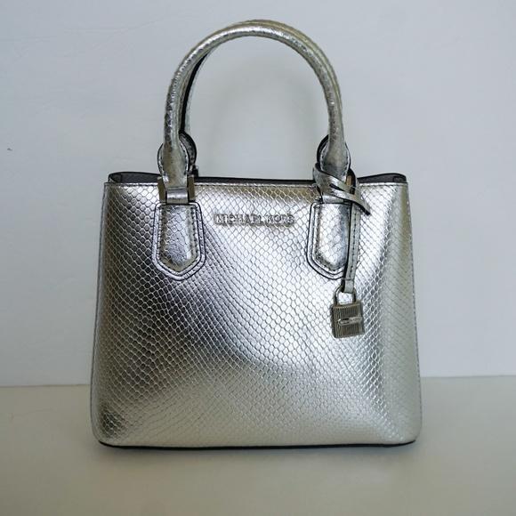 3527b2b71a2d Michael Kors Bags   Adele M Messenger Bag Silver Embossed   Poshmark